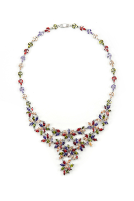 Platinum Floral Necklace-0