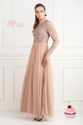 Dress With Sequin And Tulle Skirt-0