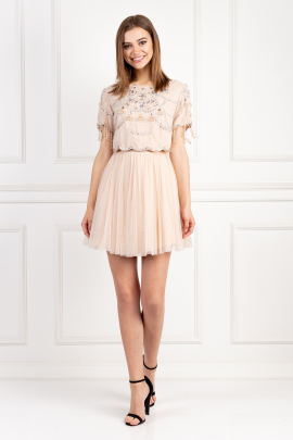 Embellishment Tulle Mini Dress-0