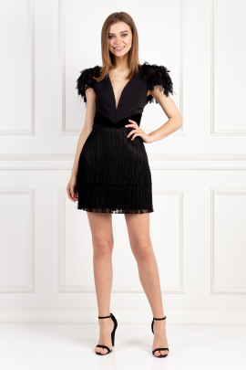 Black Dress With Feathers -0