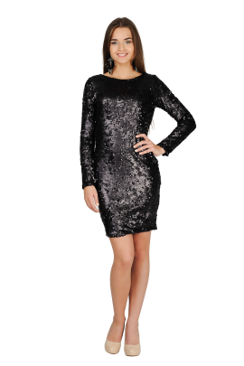 Black Sequin Mini Dress-0