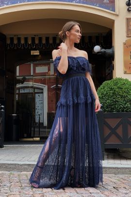 Off Shoulder Navy Maxi Dress / VILNIUS-0