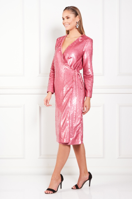 Sequined Satin Wrap Pink Dress-2