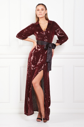 * Satin Trimmed Sequined Chiffon Maxi Dress-0