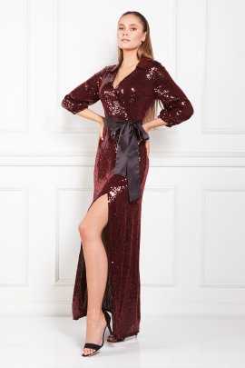 * Satin Trimmed Sequined Chiffon Maxi Dress-2