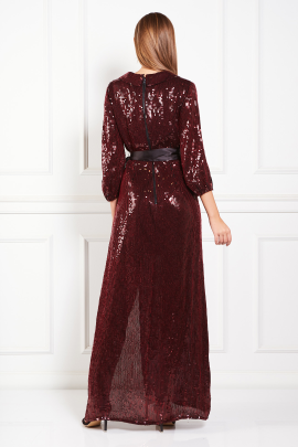 * Satin Trimmed Sequined Chiffon Maxi Dress-3