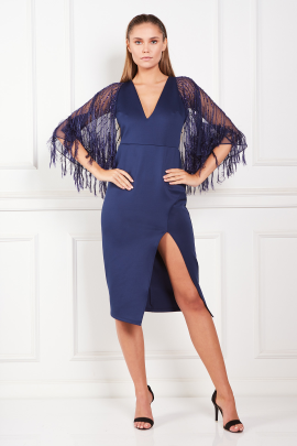 Faux Feather Cape Midi Dress-0