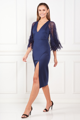 Faux Feather Cape Midi Dress-1