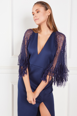 Faux Feather Cape Midi Dress-2
