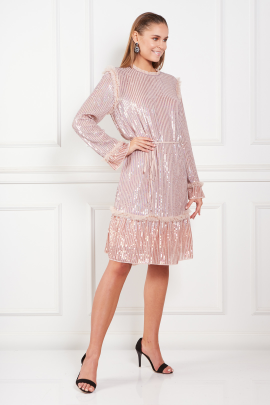 Tulle-Trimmed Sequined Chiffon dress-1