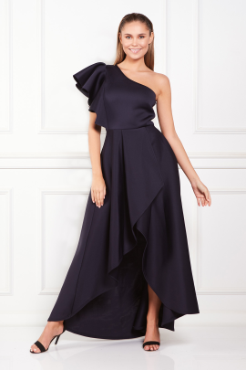 Frill One Shoulder Maxi Dress-0