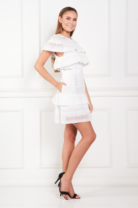 * White Floral Broderie Mini Dress-1