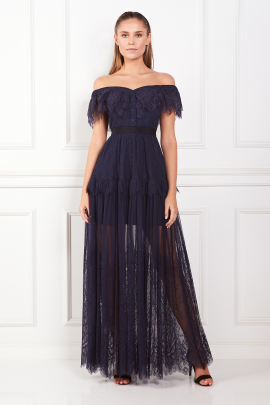 * Off Shoulder Navy Maxi Dress -0
