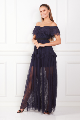 * Off Shoulder Navy Maxi Dress -1