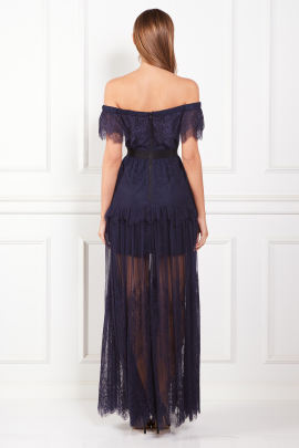 * Off Shoulder Navy Maxi Dress -2