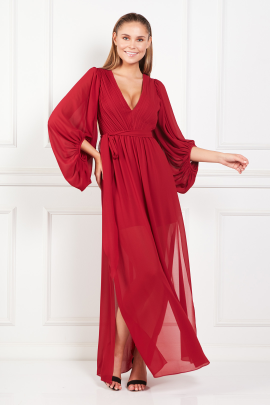 Red Pleated Crepe Gown-0