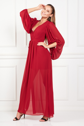 Red Pleated Crepe Gown-1
