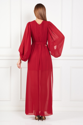 Red Pleated Crepe Gown-2