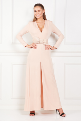 Nude Long Dress With Belt-0