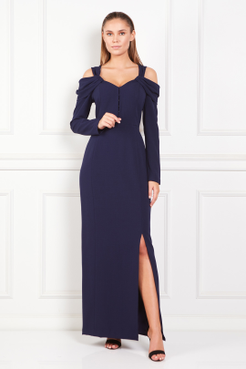 Navy Cold-Shoulder Crepe Gown-0