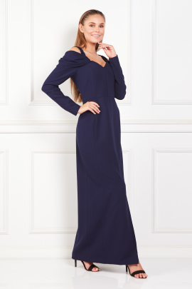 Navy Cold-Shoulder Crepe Gown-1
