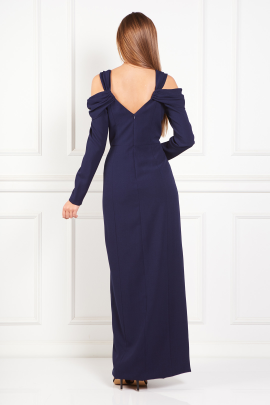 Navy Cold-Shoulder Crepe Gown-2