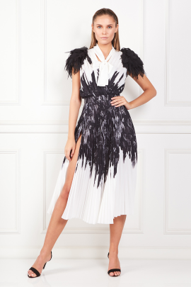 Dress With Feather Print-0
