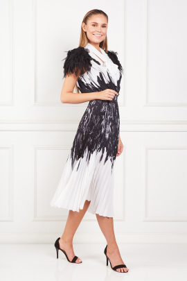 Dress With Feather Print-1