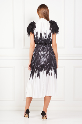 Dress With Feather Print-2