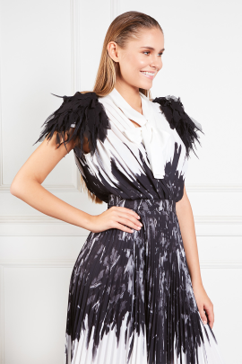 Dress With Feather Print-3
