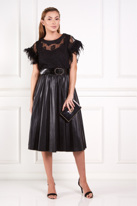 * Black Abu Dhabi Dress With Feathers-0