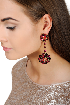 Gold-tone Red Crystal Clips / VILNIUS-1