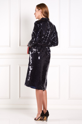 Silk Satin-Trimmed Sequined Chiffon Robe-3