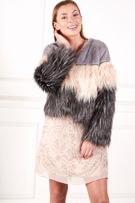 Exlusive Colorblock Faux Fur Coat-1