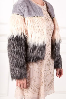 Exlusive Colorblock Faux Fur Coat-2