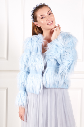 Sky Blue Faux Fur Coat-0