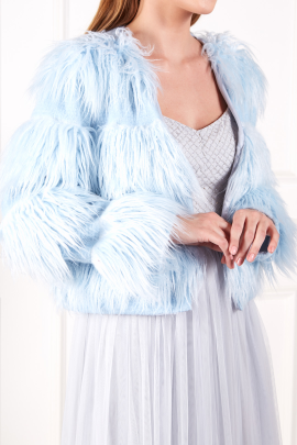 Sky Blue Faux Fur Coat-1