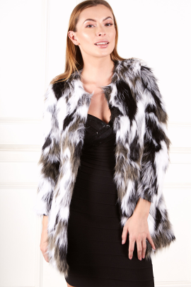 Black And White Fur Coat-0