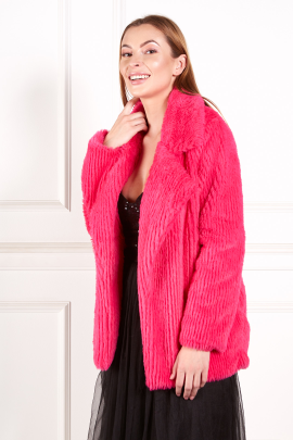 Fuchsia Faux Fur Coat-1