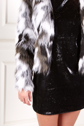 Faux Fur Coat In Black And White-1