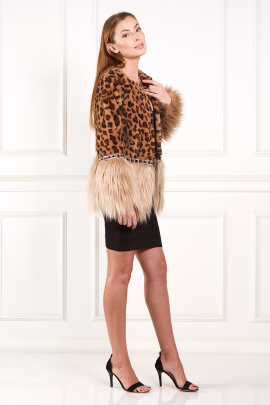 Two Tones Faux Fur Coat-1