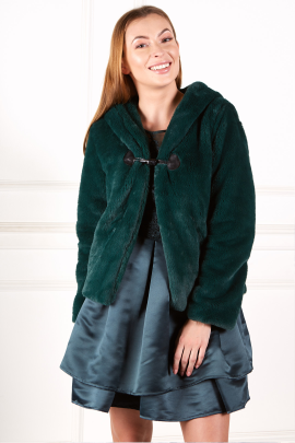 Dark Green Faux Fur Coat-0