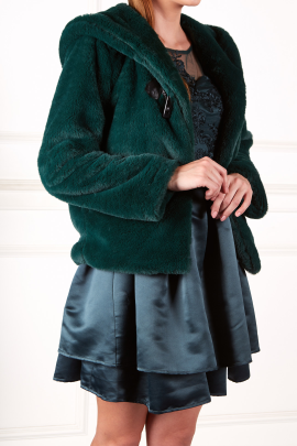 Dark Green Faux Fur Coat-1