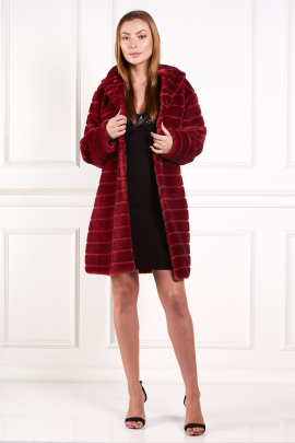 Burgundy Textured Faux Fur Coat-0