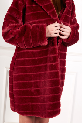 Burgundy Textured Faux Fur Coat-1
