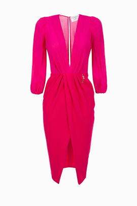 Wraparound Fuchsia Dress-0