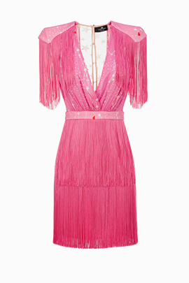 Pink Mini Dress With Fringes-0