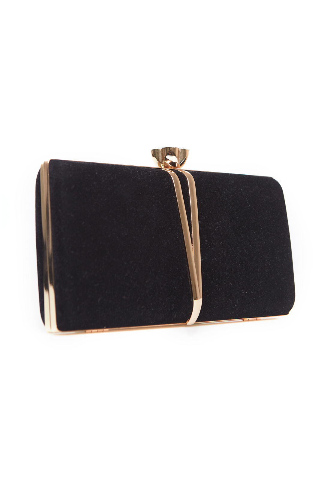 Velour Clutch Bag With Decor