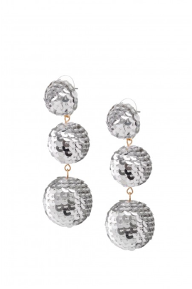 Silver Sequin Bubbles Earrings-0