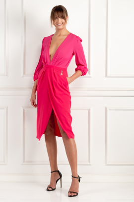 Wraparound Fuchsia Dress-2